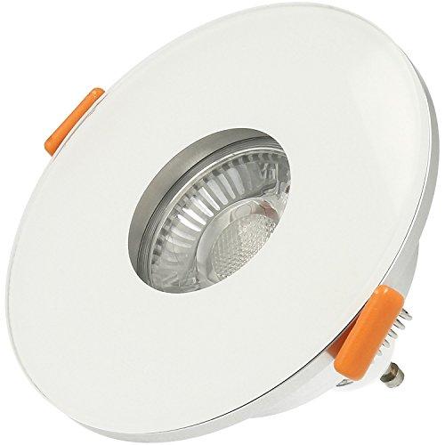 Ledox Bad Einbaustrahler Ip44 aus Echtglas Lista Vidrio Aqua weiß rund für Led & Halogen Leuchtmittel geeignet für das Badezimmer mit 68mm Lochausschnitt