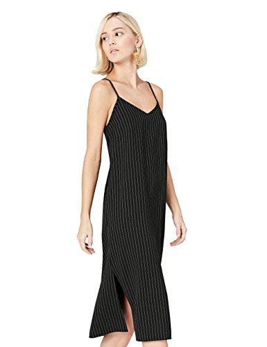 Marca Amazon - find. Vestido de Tirantes con Raya Ejecutiva para Mujer, Multicolor (Black/white), 38, Label: S
