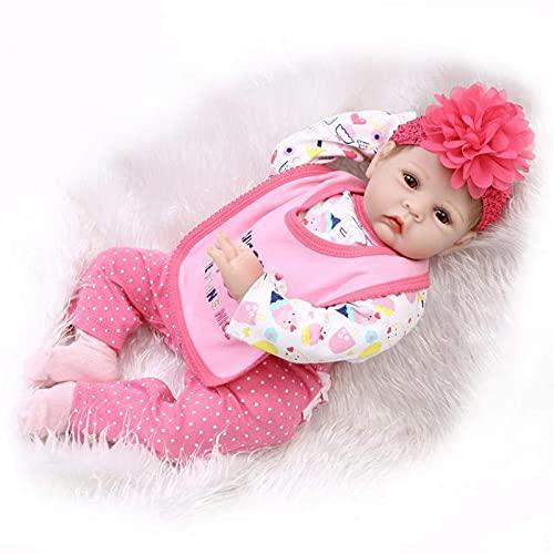 Realistic Reborn Dolls Lovely Baby Girl, 22 Pulgadas Realista bebé Hecho a Mano Silicona Vinilo Cuerpo algodón muñecas recién Nacidas Regalos/Juguetes para niños