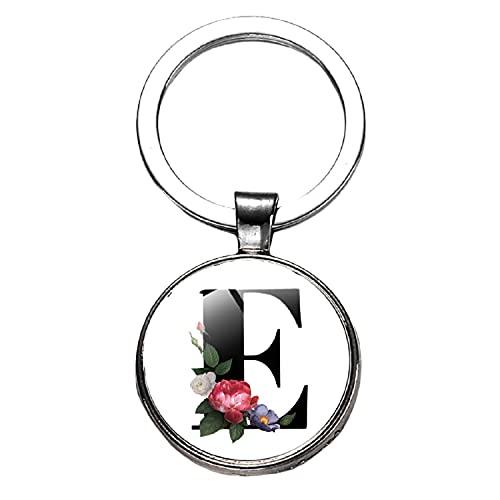 Llavero de letras inglesas de bronce plata oro metal anillo llavero redondo flor patrón llavero bolsa colgante hombres mujeres regalos