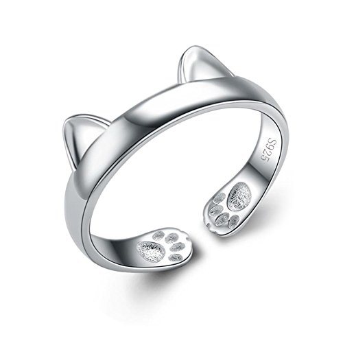 ANEWISH Fine Jewelry Cute Cat S925 Sterling Silver Womens Ring for Women Teen Girl