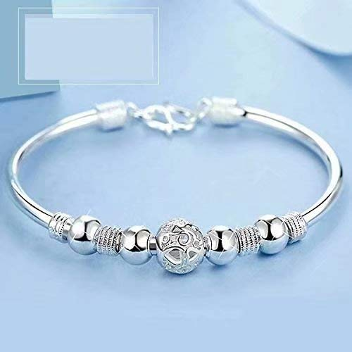 Plateado mujeres de la joyería 925 pulseras de cadena de plata esterlina de plata sólida de pulsera de moda Cuff