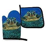 Wfispiy Deep Sea Turtle Baby (2) Juego de Manoplas y Soportes para ollas, Parche Lavable, Resistente al Calor, Cocina, Agarre Antideslizante, Guantes para microondas, Barbacoa