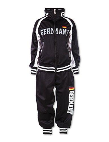 24brands Jungen Trainingsanzug Sportanzug Sporthose mit Jacke Zweiteiler Sportbekleidung Germany Deutschland - 3151, Größe:116-122;Farbe:Schwarz