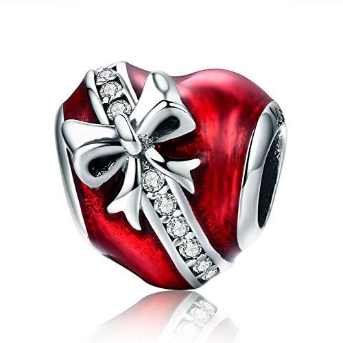 Pandora 925 colgante de plata esterlina DIY romántico Bowknot corazón cuentas claras ajuste pulseras collares cadena fabricación de joyas C