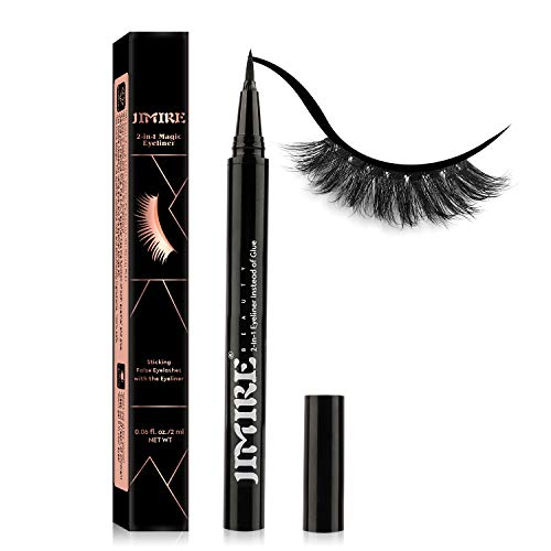 2-in-1 Eyeliner Instead of Glue, JIMIRE Magic Eyeliner | Extra Strong Hold for False Eyelashes | No Magnet & No Glue Needed | Only for 20's to Apply Lashes