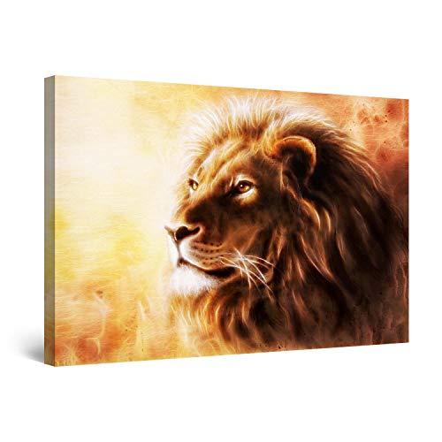 Startonight Cuadro Moderno en Lienzo Pintura Animales, Ojos de León para Salon Decoración Grande 80 x 120 cm