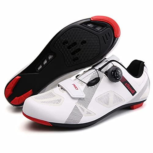 Zapatos de Ciclismo para Bicicleta de Carretera para Hombre, Zapatos Premium con Tacos, Zapatos SPD para Hombre, Zapatos Negros y Blancos para Ciclismo, Zapatos para Spinning