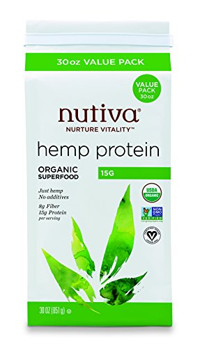 Nutiva Organic, Cold-Processed Hemp Protein from non-GMO, Sustainably Farmed Canadian Hempseed, 15 G, 30-ounce