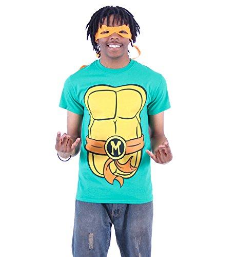 Teenage Mutant Ninja Turtles TMNT Michelangelo Costume Green T-Shirt with Orange Eye Mask (Adult Medium)