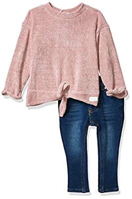 7 For All Mankind Baby Girls 2 Piece Set, Sweater Knit Rosy, 24M