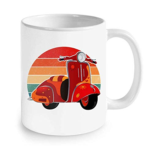 N\A Gifts for Hippies - Motor Scooter For Hippie Vintage Hippie Taza de café 11 oz