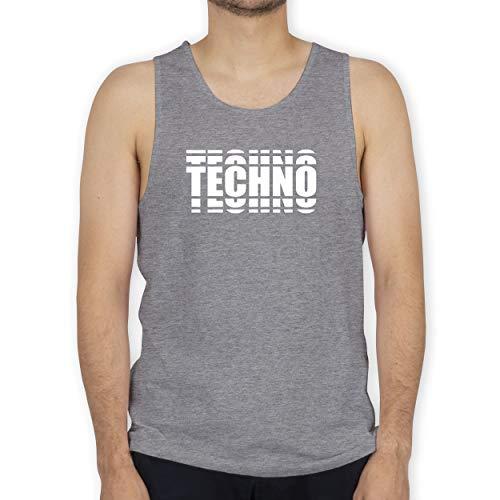 Shirtracer Festival - Techno in Grafischem Muster - L - Grau meliert - I Love Techno - BCTM072 - Tanktop Herren und Tank-Top Männer