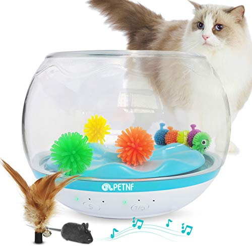 petnf 2020 Newest Interactive Cat Toy USB Charging Fish Bowl-Shaped Kitten Toys Timer Setting Cat Feather Toys Multiple Game Play Cat Tumbler Toy Automatic Rotating Non-Toxic and Eco-Friendly