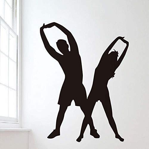 Vinilo Adhesivo Dormitorio Yoga Pose Silueta Pared Arte Calcomanía Yoga Habitación Papel Tapiz Móvil Decoración Del Hogar Sala De Estar 42X52Cm