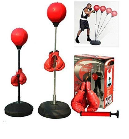 HongWu Ultimate Boxing Punching Speed Ball Boxing Training Bag Fitness with Boxing Glove for Teenagers and Adults Adjustable 48' to 59' in Height