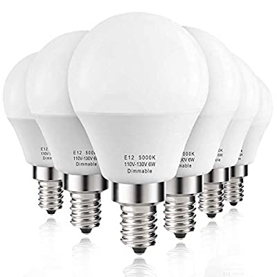 Prosperbiz E12 Dimmable 6 watt (60w Equivalent) LED Bulbs, E12 Small Base Candelabra Round Light Bulb, 550 Lumen, Daylight White 5000K, A15 LED Bulb Globe Shape, G45 Ceiling Fan Light Bulbs (6 Pack)