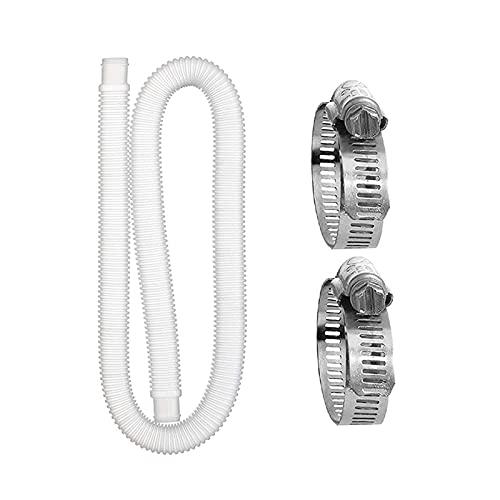 Tubo Di Sostituzione Della Piscina, Tubo di Ricambio per Piscine Fuori Terra, Tubo di Ricambio per Pompa Filtro per Piscina con 2 Anelli di Collegamento in Metallo (1,5 M)