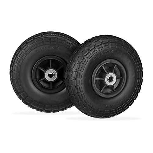 Relaxdays Sackkarrenrad 2 Ruedas para Carretilla, neumáticos de Goma sólida, a Prueba de pinchazos, 4,1/3,5-4', Eje de 16 mm, hasta 150 kg, 260 x 85 mm, Color Negro