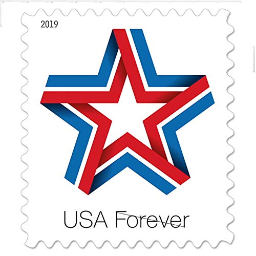 Star Ribbon Strip of 100 Forever First Class Postage Stamps Celebration Patriotic (100 Stamps)