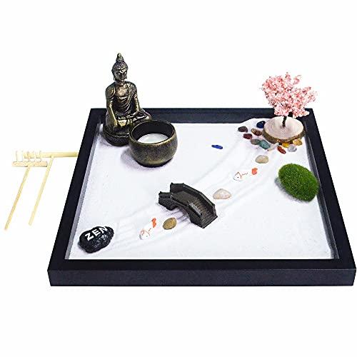 Japanese Zen Garden kit for Desk, Buddha Zen Garden Statue Decor, Mini Tabletop Meditation Zen Garden Gift Set with Sand Zen Accessories and Rake Tools for Home Office Desktop Sandbox Decor