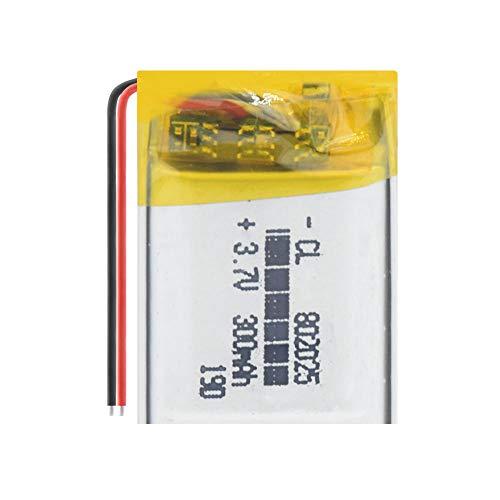 ahjs457 Célula Recargable de 300mAh de Gran Capacidad de polímero de Litio de 3,7 V 802025 para Dispositivo portátil Mp3, Dispositivo de monitoreo inalámbrico