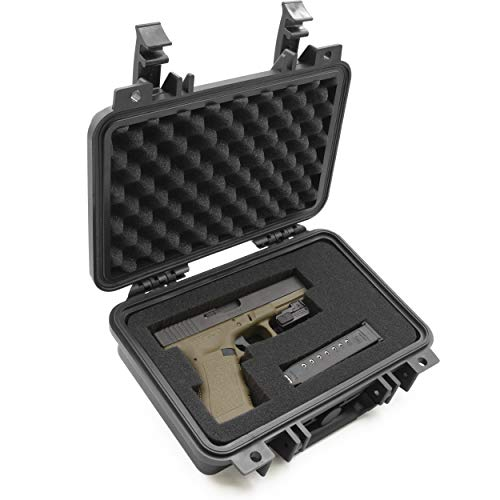 CASEMATIX Hard Gun Case for Pistols - Waterproof & Shockproof Gun Cases for Pistols, Compact 9mm Gun Case for Carrying Handgun...