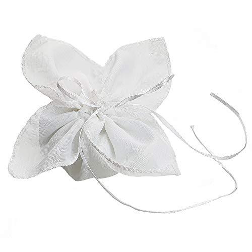 Steffanazzi 20 stuks gastgeschenken om zelf te maken, set zakdoekzakjes, type linnen voor gastgeschenken confect doop confirmatie huwelijk verjaardag verjaardag party sieraden Bianco 10