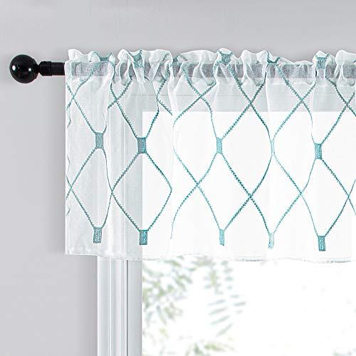 Top Finel White Kitchen Sheer Curtains Valance 18 Inch Length Teal Embroidered Rod Pocket Small Window Curtains for Basement Bathroom, 2 Panels