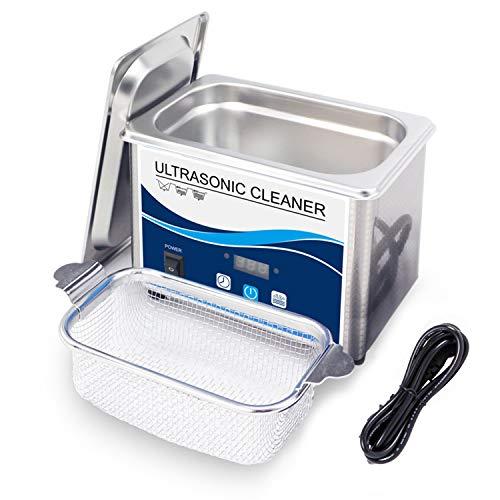 DAND Ultraschallreinigungsgerät,Ultraschallreiniger 800ml 40KHz mit Digitaler Zeitschaltuhr und Korb Ultraschallbad Reinigung für Zahnprothesen Brillen Uhren Zubehör Tattoo Werkzeuge Metall,Silver
