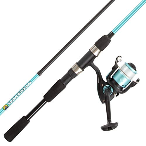 Fishing Rod & Reel Combo-6' Fiberglass Pole, Spinning Reel for Beginners-Pre-Spooled with 10lb Test Breakline Series by Wakeman Outdoors (Turquoise)