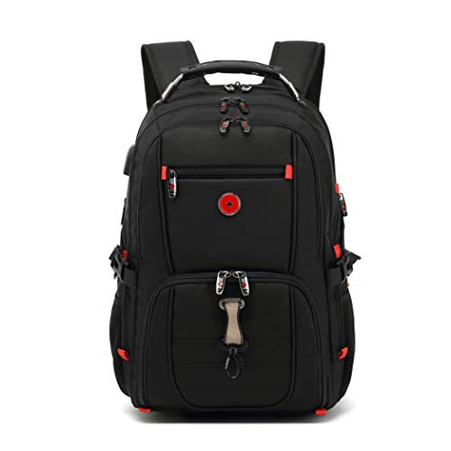 Drappers Tourist Gear Backpack-Anti-Theft-Business- Water Resistant USB Charging Audio Port Extra Large Work Bag College High School Rucksack 17 Inch Notebook for Boys Men Women -Black