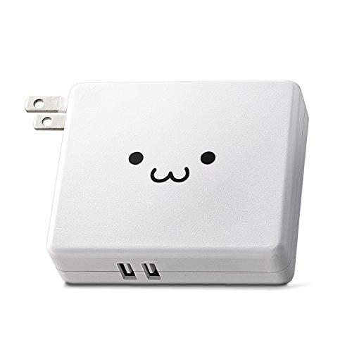 エレコム モバイルバッテリー/AC一体型/5800mAh/2.4A/PSE/ホワイトフェイス
