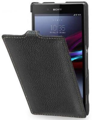 StilGut Ultraslim Hülle, Tasche aus Leder für Sony Xperia Z1, Schwarz