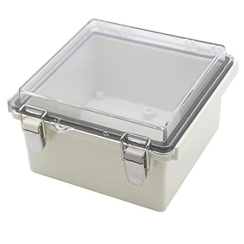 Zulkit Junction Box ABS Plastic Dustproof Waterproof IP65 Electrical Boxes Hinged Shell Outdoor Universal Project Enclosure Grey Clear Cover with Lock, Stainless Steel Buckles 5.9 x 5.9 x 3.5 inch
