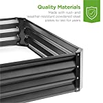 Best Choice Products 4x3x1ft Outdoor Metal Raised Garden Bed Box Vegetable Planter for Growing Fresh Veggies, Flowers… 10 EASY ASSEMBLY: Beveled edges can easily be screwed to the sides using a Phillips screwdriver and the included wingnuts and screws so it's ready in no time BUILT TO LAST: Made of powder-coated steel plates, with a rust-resistant finish to keep your garden bed looking its best for years to come OPEN-BOTTOM GARDEN BED: Built with an open base to prevent water buildup and rot, while allowing roots easy access to nutrients