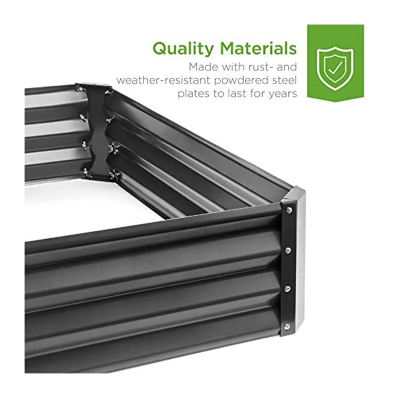 Best Choice Products 4x3x1ft Outdoor Metal Raised Garden Bed Box Vegetable Planter for Growing Fresh Veggies, Flowers… 3 EASY ASSEMBLY: Beveled edges can easily be screwed to the sides using a Phillips screwdriver and the included wingnuts and screws so it's ready in no time BUILT TO LAST: Made of powder-coated steel plates, with a rust-resistant finish to keep your garden bed looking its best for years to come OPEN-BOTTOM GARDEN BED: Built with an open base to prevent water buildup and rot, while allowing roots easy access to nutrients