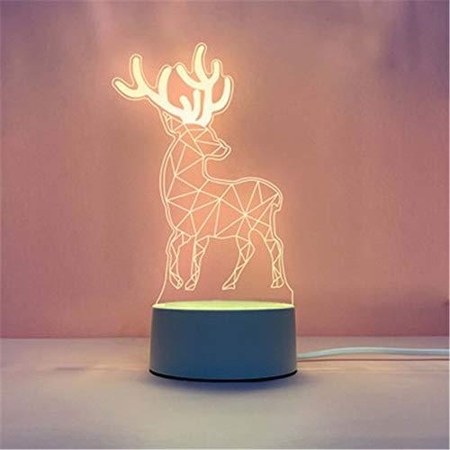 Fósforo Explosión 3d luz nocturna creativa dormitorio pequeño lámpara de mesa led regalo mesa lámpara usb luz de noche, Acrílico + ABS., D (ciervo sika), 4*1.6IN