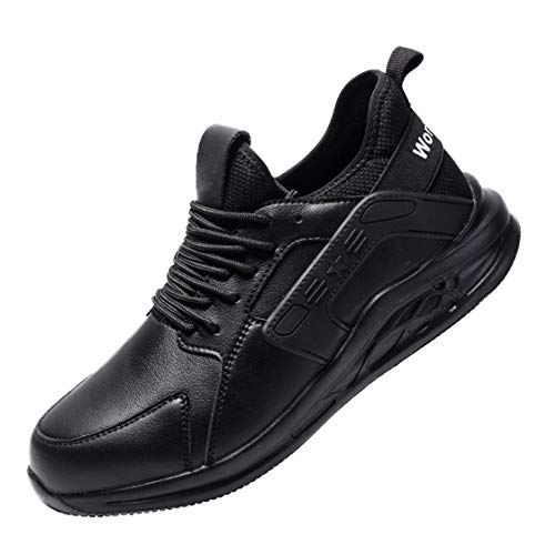 HMAKGG Zapatillas de Seguridad para Hombre, con Punta de Acero Trekking Running Botas Montaña Zapatos Impermeables Zapatos de Trabajo Caminar Antideslizante,Negro,43 EU