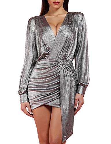 whoinshop Women's Metallic Sexy Draped Front Long Sleeve Bodycon Party Mini Dress Clubwear Silver M