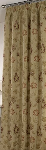 The Linenmouse Period style Heavy weight Thermal Traditional Tapestry Single Door Curtain, Light Gold, Pencil Pleat Heading - 66x90 drop (168x229cm).