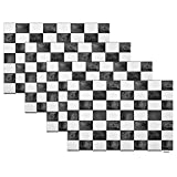 Swono White and Black Plaid Placemats,Black and White Checkered Plaid Texture Place Mats Home Decoration for Dinner Table,Indoor Outdoor Waterproof Kitchen Table Mats Set of 4,12'X18'