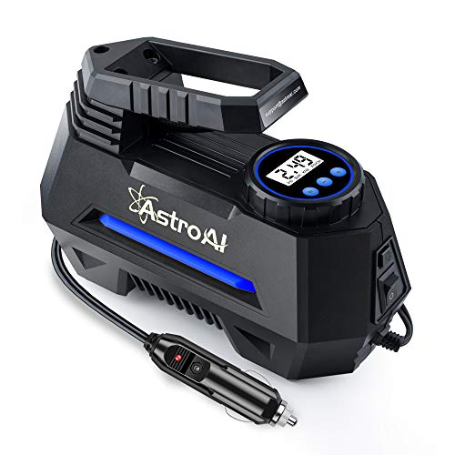 AstroAI Air Compressor Tire Inflator, Portable Air Pump for Car Tires 12V DC Auto Tire Pump with Digital Pressure Gauge, 100PSI with Emergency LED Light for Car, Bicycle and Other Inflatables