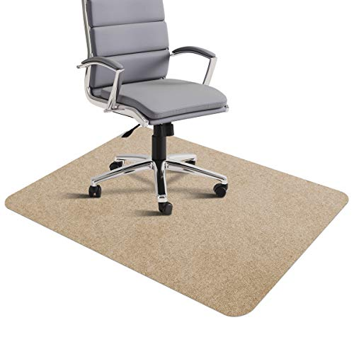 Office Chair Mat, SALLOUS Office Desk Chair Mat for Hardwood Floors, 0.16' Thick 35'x55' Hard Floor Protector Mat, Indoor Doormat for Entrance, Multi-Purpose Low-Pile Chair Carpet for Home (Beige)