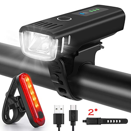 WQJifv LED Bike Lights Set USB Rechargeable Headlight Rear Light LED Super Bright Bicycle Light Set Waterproof Front and Taillight 4 Light Mode Fits All Bicycles, Mountain,Road