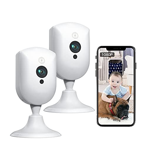 Baby Monitor, Pet Camera with Sound/Motion Detect 1080p Night Vision 2 Way Audio Video Record, Plug-in 2.4G WiFi Indoor Camera Works with Alexa for Home Surveillance/Baby's Security/Pet Monitoring
