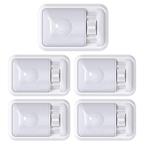 Leisure LED 5 Pack 12V RV Ceiling Dome Light RV Interior Lighting for Trailer Camper with Switch, Single Dome Frosted Lens 300LM (Frosted Lens Natural White 4000-4500K, 5-Pack)