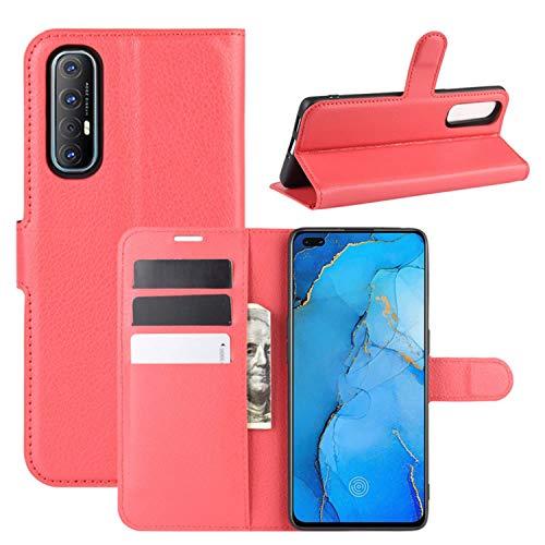 HualuBro Oppo Find X2 Neo Hülle, Premium PU Leder Stoßfest Klapphülle Schutzhülle HandyHülle Handytasche Wallet Flip Hülle Cover für Oppo Find X2 Neo Tasche (Rot)