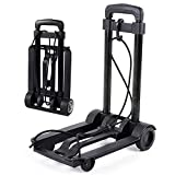 Portable Folding Hand Truck With Wheels Telescopic Black Heavy Duty Lightweight Cart For Luggage Moving