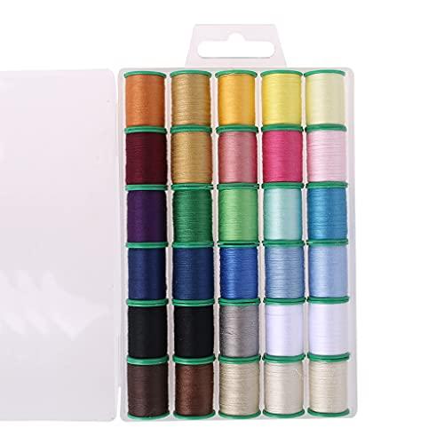 Grbewbonx Juego de 30 hilos de colores surtidos para máquinas de coser, hilo de bobina de plástico para bordar y coser preenrollado DIY hilo de bordar